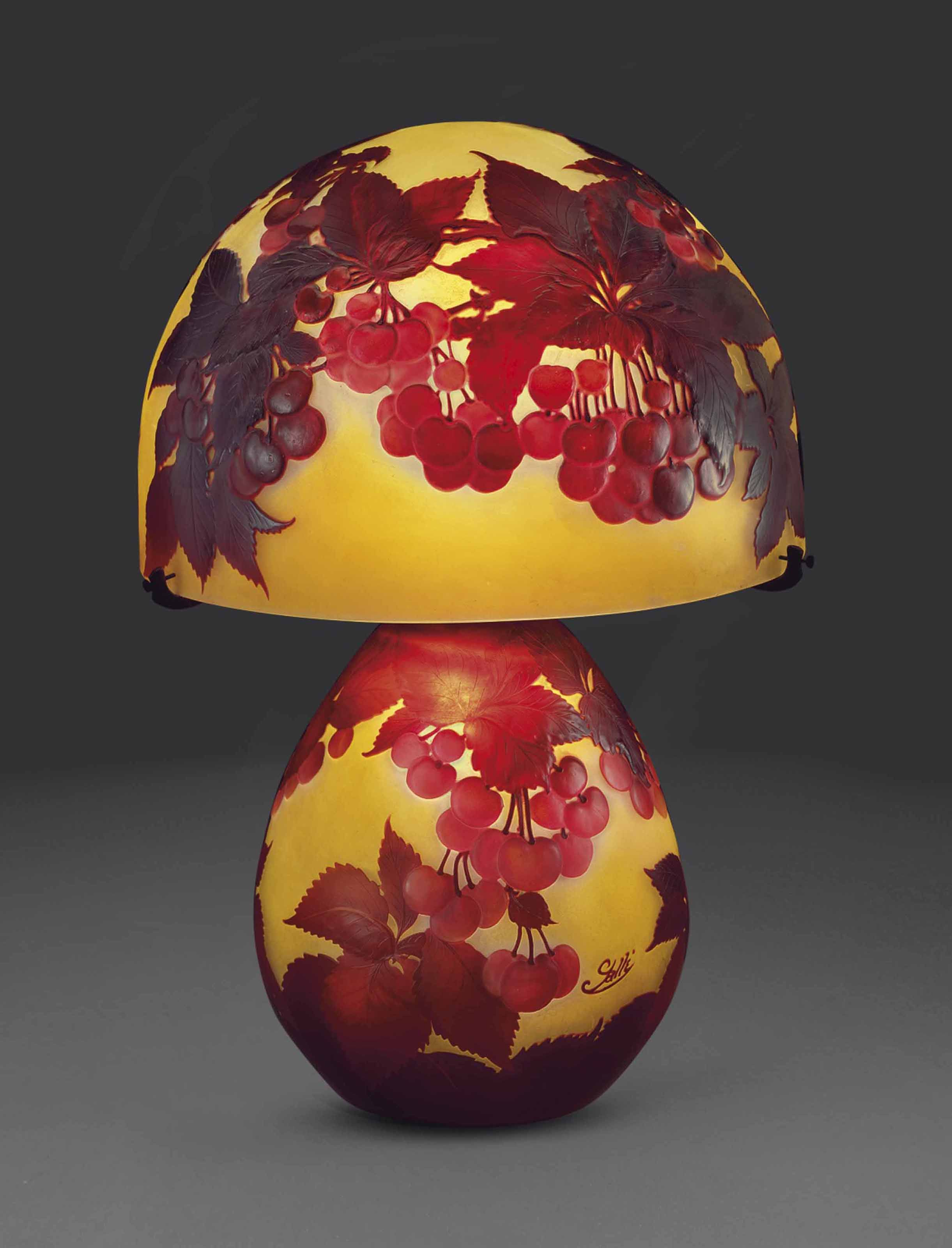 Galle A Cherry Table Lamp Circa 1925 1920s Flowers