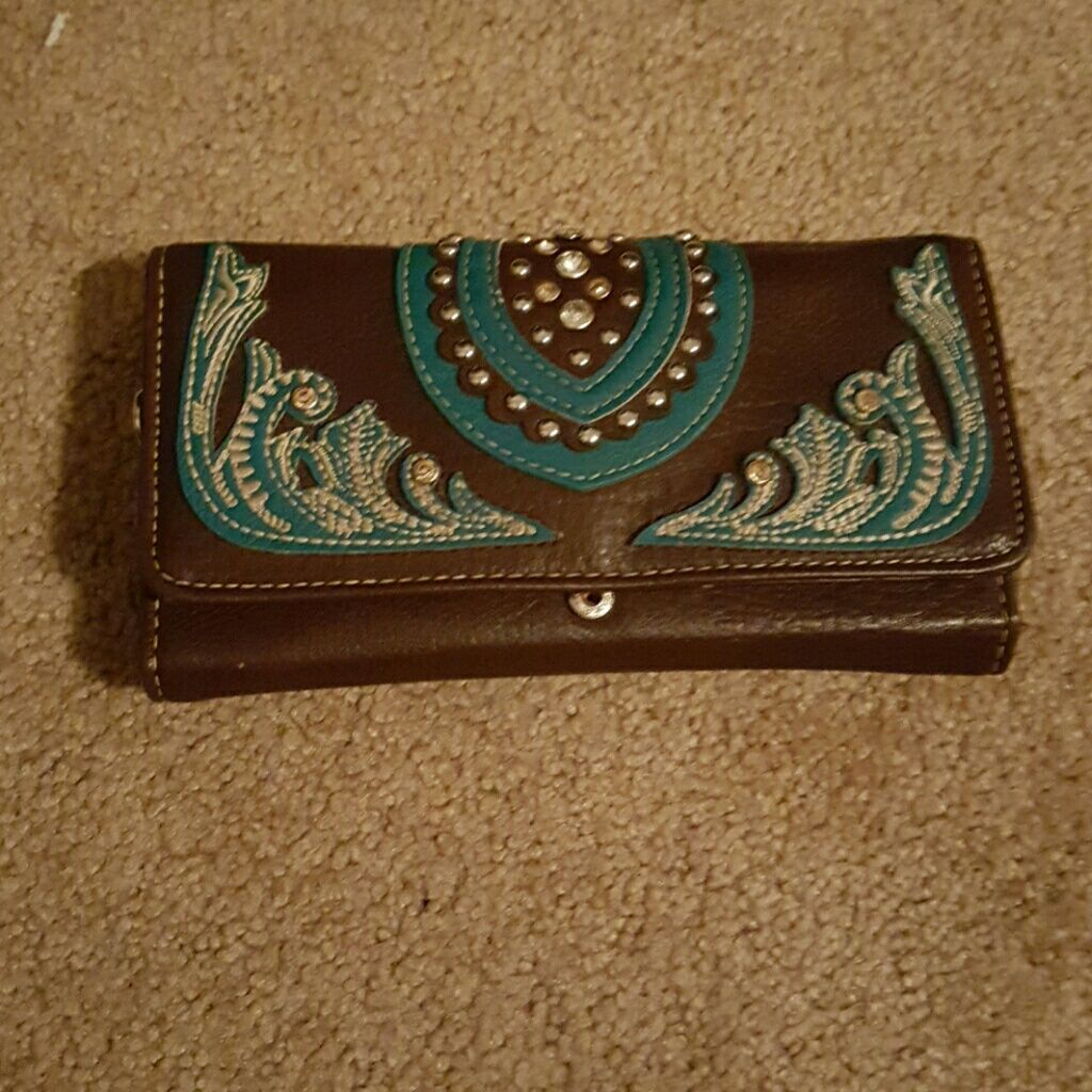 Brown And Teal Leather Wallet