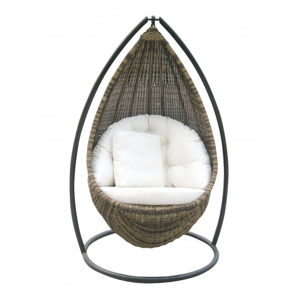 Cool Hanging Chairs For Indoor And Outdoor : Amazing Rattan Hanging Chair  Design Inspiration With Comfortable White Upholstery For Outdoor A.