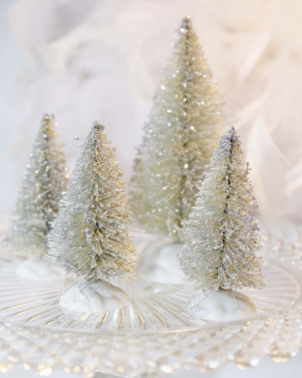 Vintage Inspired Bottle Brush Tree Set 4 Silver Glitter Bottle Brush Trees Bottle Brush Christmas Trees Christmas Tree Set Merry Little Christmas