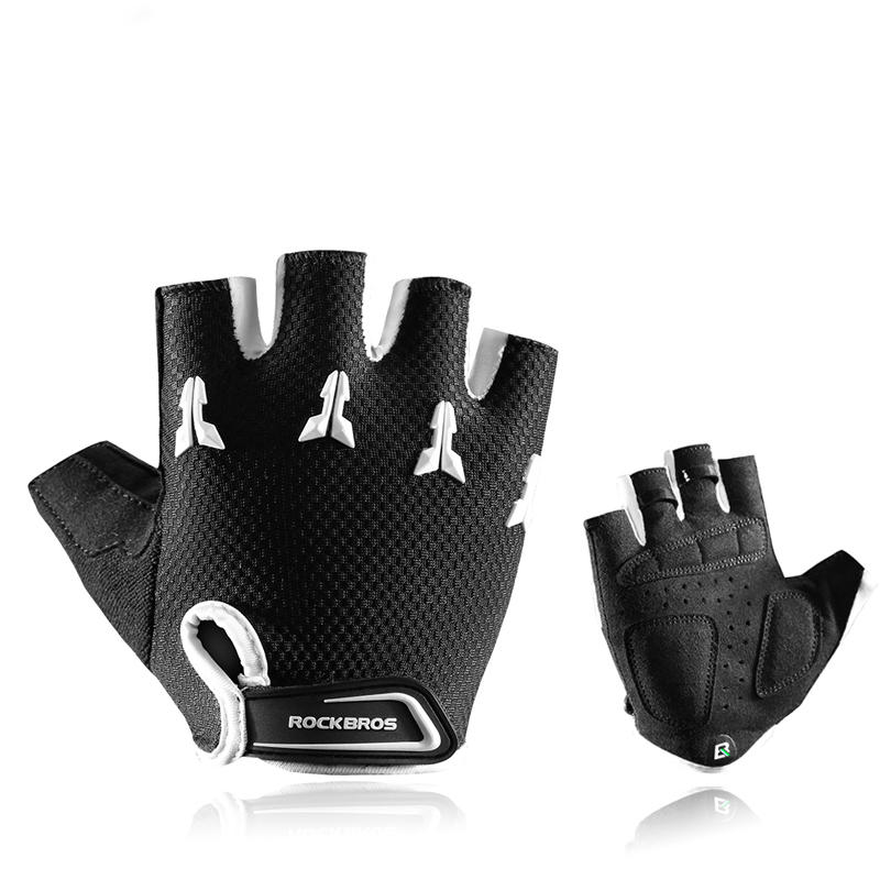 RockBros Cycling Half Finger Shockproof Breathable Riding Gloves Black White