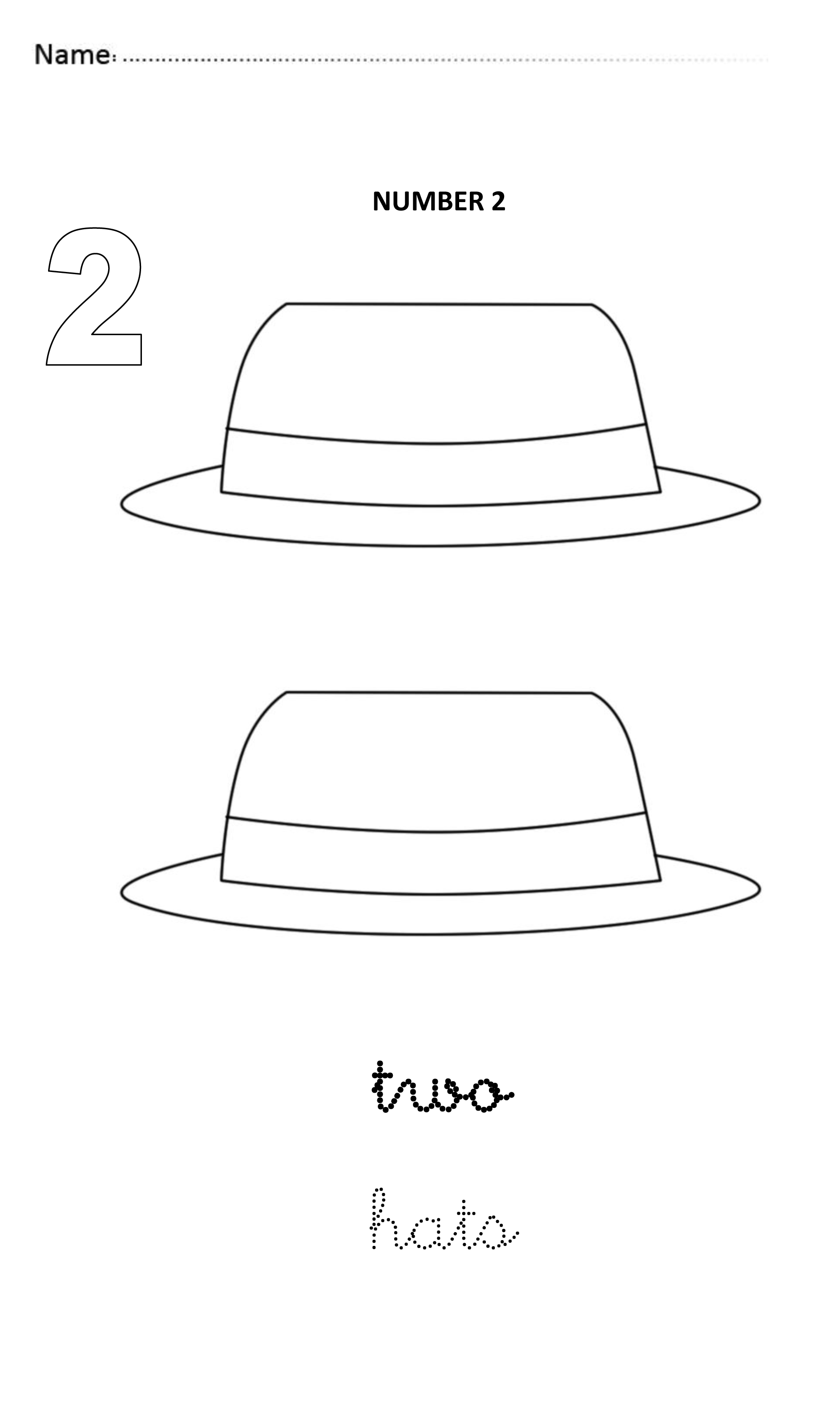 Number 2 Easy And Visual Worksheet To Teach Numbers For