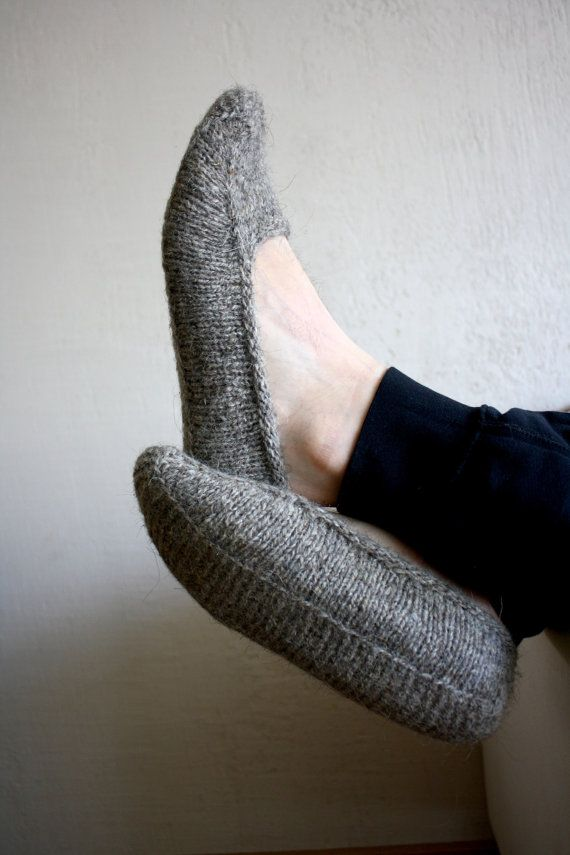 6a5253918cb Earthy Natural brown organic hand knit wool socks slippers for men ...