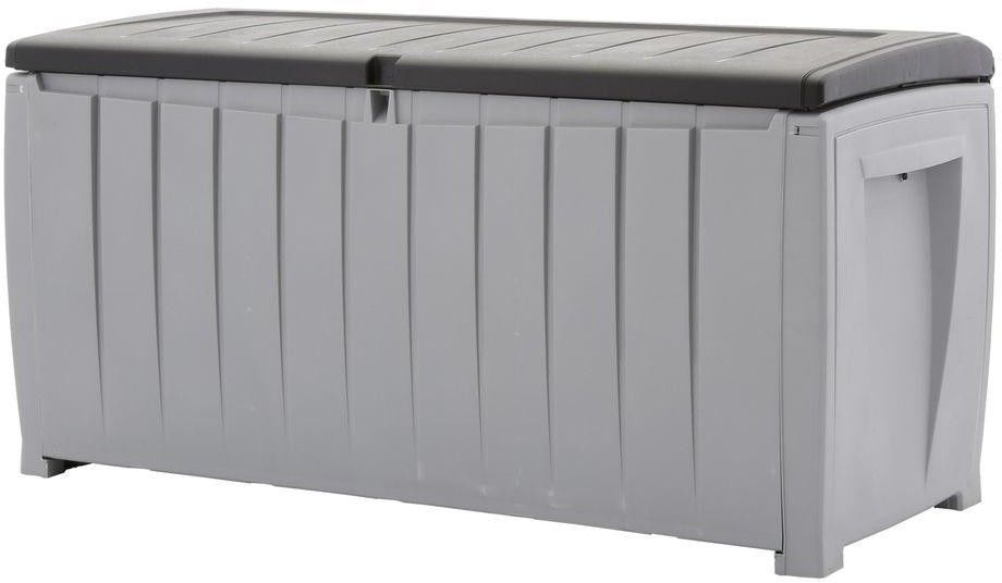 90 Gal Deck Box in Black and Gray Weatherproof Patio Storage