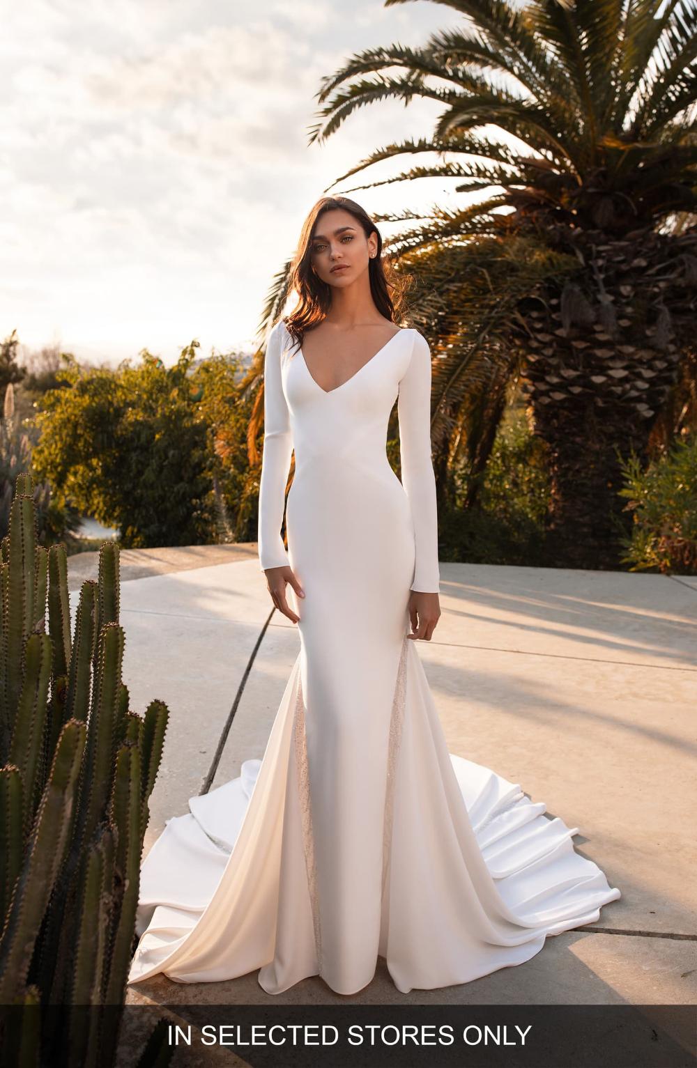 Pronovias Bianca Embellished Inset Long Sleeve Crepe Trumpet Wedding Dress Nordstrom Wedding Dress Long Sleeve Wedding Dresses Simple Wedding Dresses