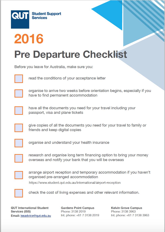 Checklist created for pre-departure briefing | Portfolio