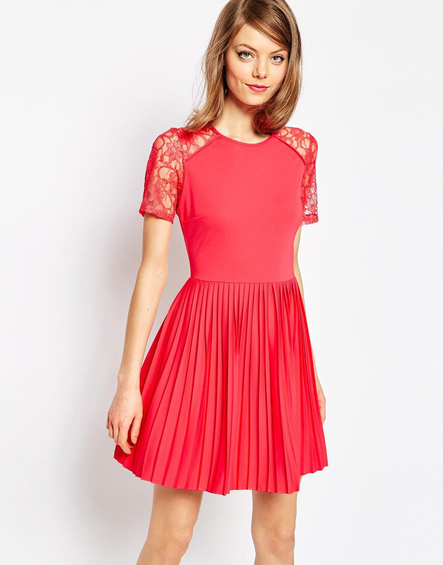 Pleat and textured mini dress with lace inserts