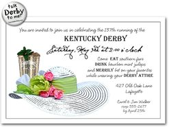 mint julep and white derby hat kentucky derby party invitations, invitation samples
