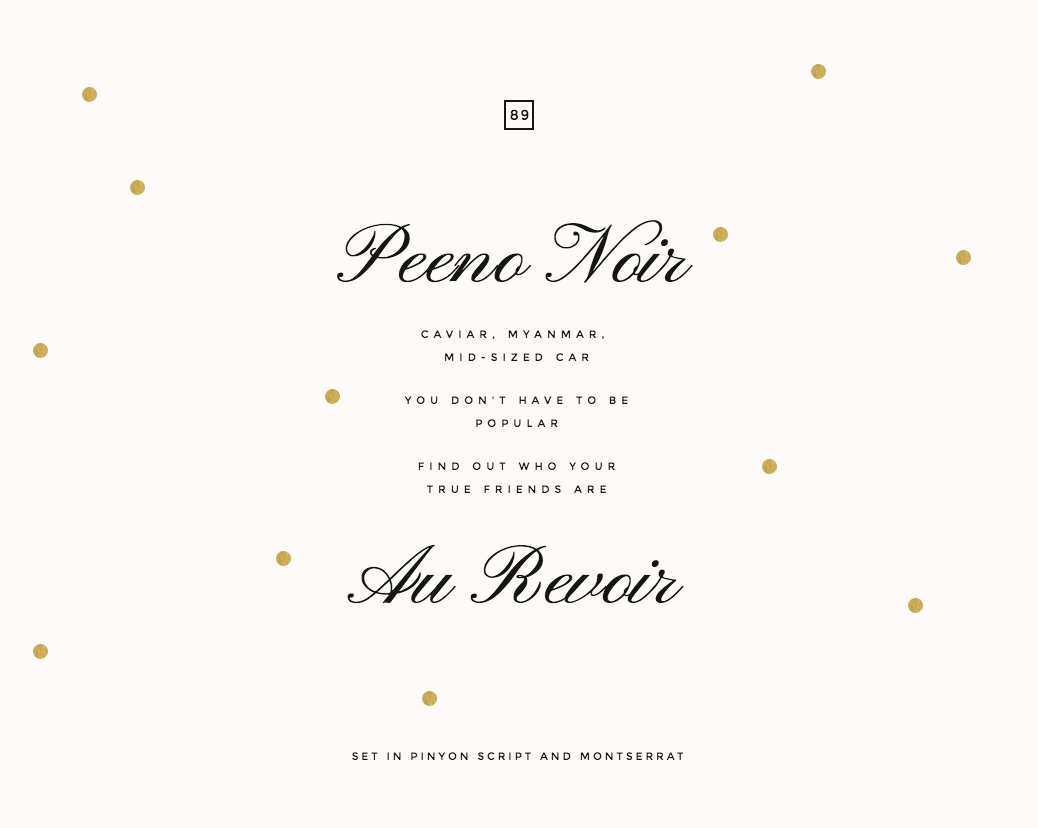 font pairing: SET IN PINYON SCRIPT AND MONTSERRAT | Typography