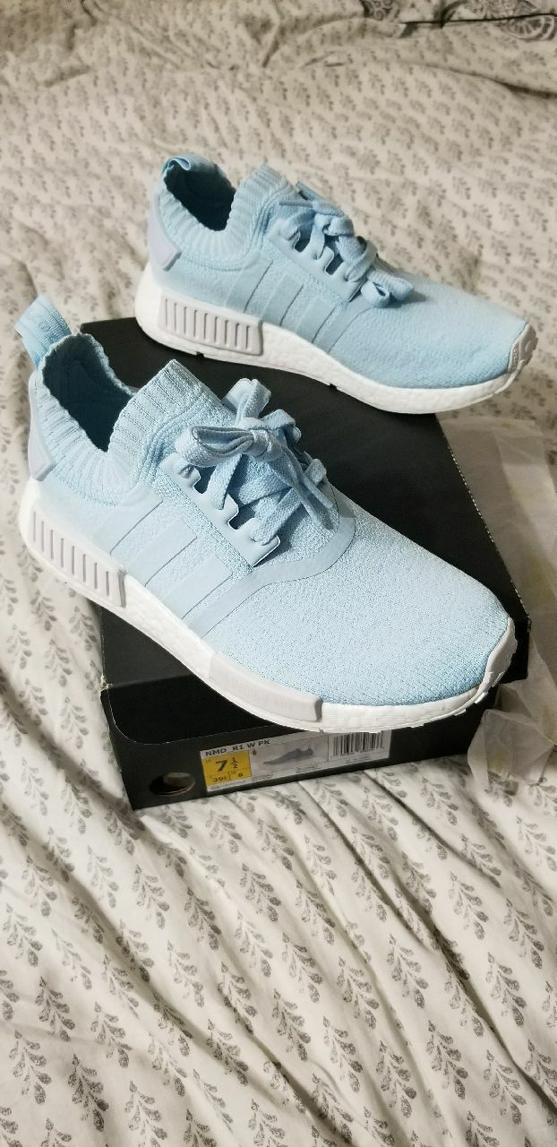 23431b491 New in box Adidas nmd r1 primeknit French ice blue. Womens size 7.5 ...