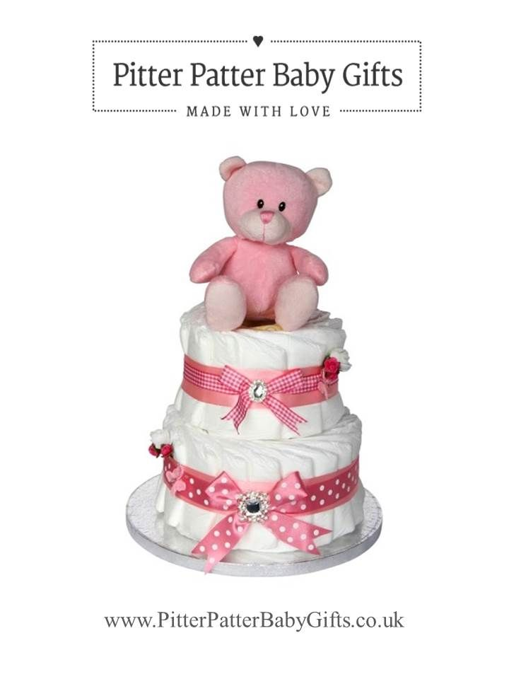 Baby girl nappy cake two tier new baby baby shower gift hamper