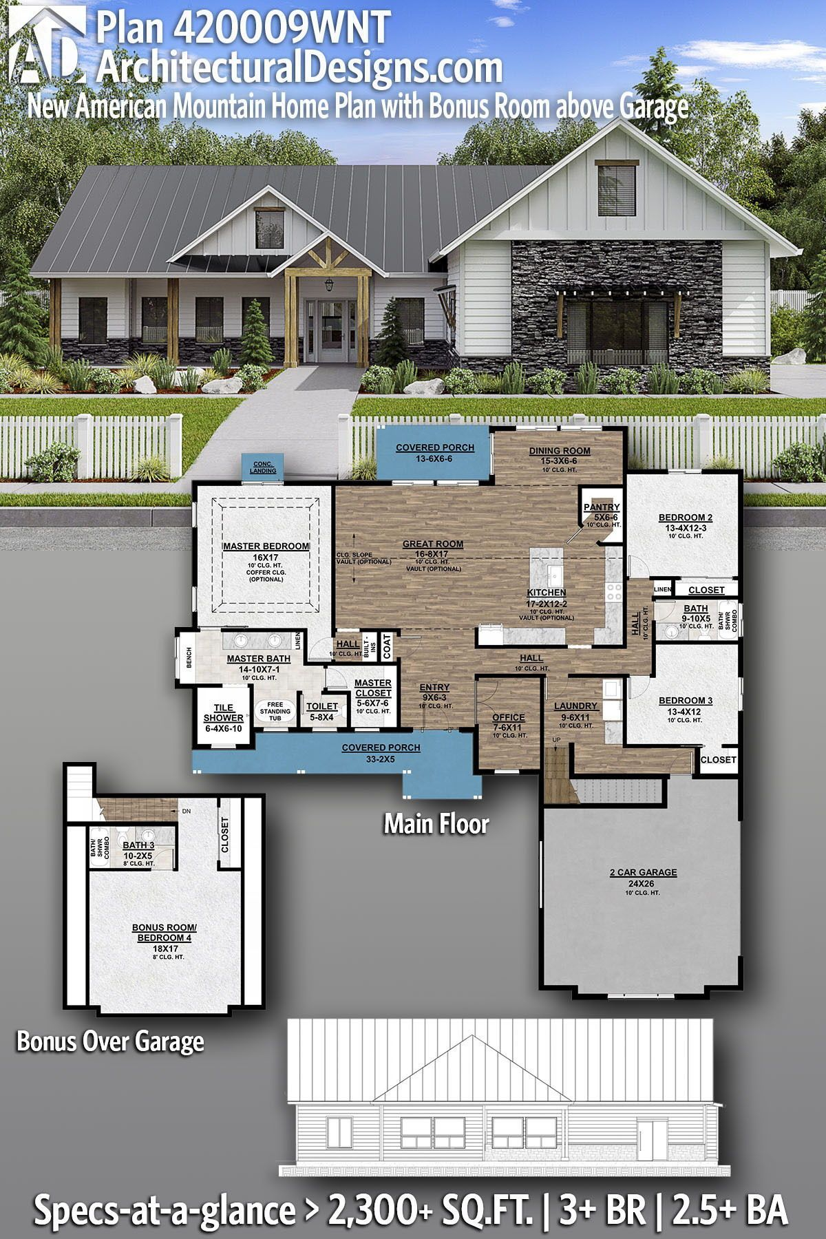 Plan 420009wnt New American Mountain Home Plan With Bonus Room Above Garage In 2020 Mountain House Plans House Blueprints House Plans