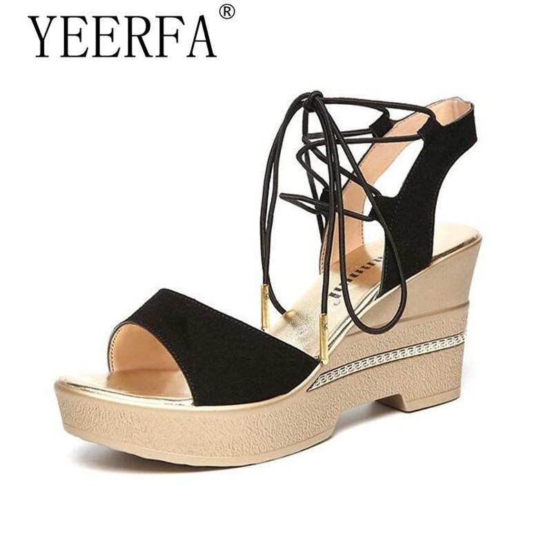 344fac781729c4 YEERFA EUR Women s Sandals Ankle Strap Lace-Up Platforms Wedges Women  Sandals  Black Flock