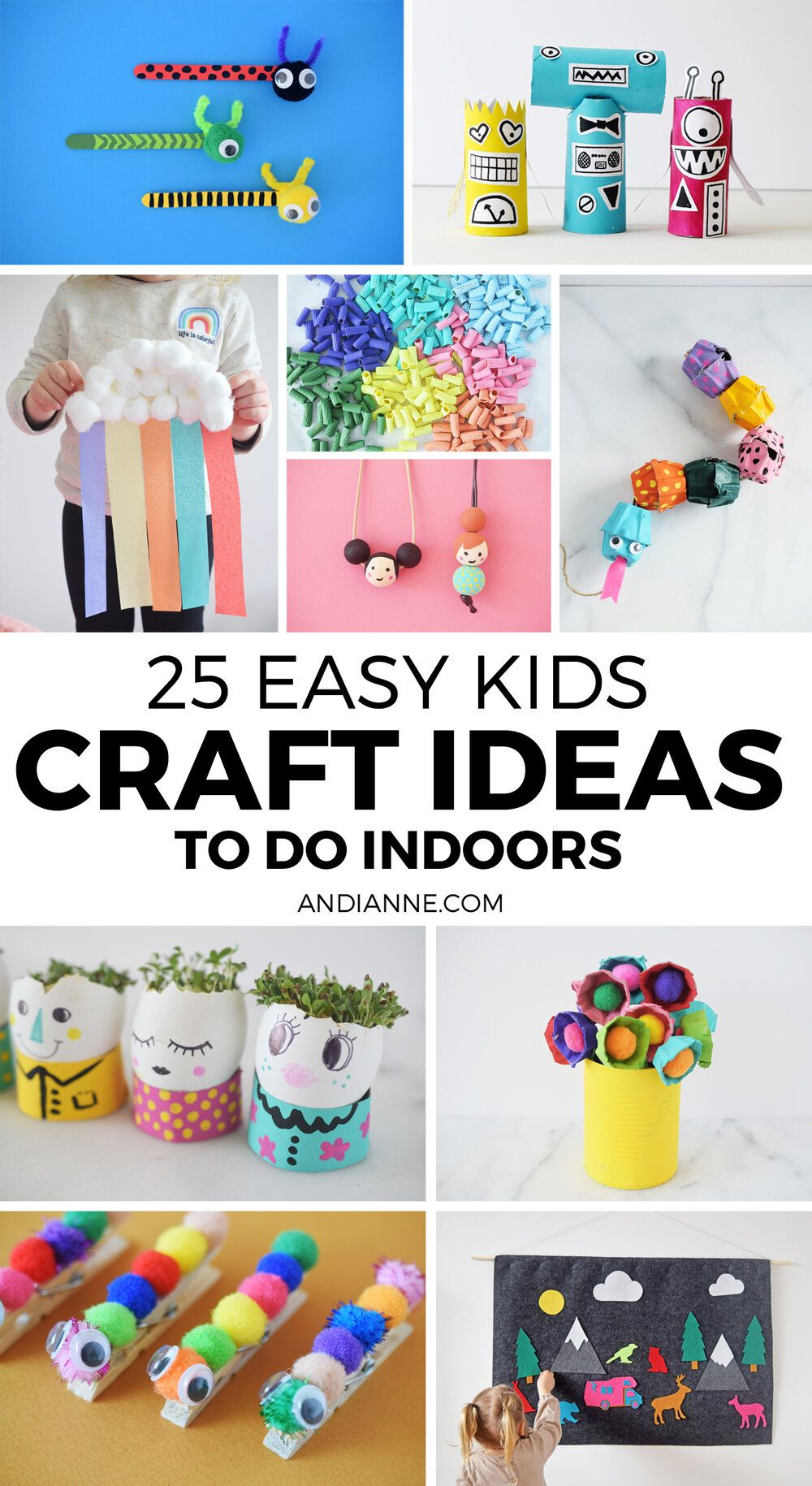 25 Easy Kids Crafts To Make At Home Andianne In 2020 Easy Crafts For Kids Crafts For Kids Summer Crafts For Kids