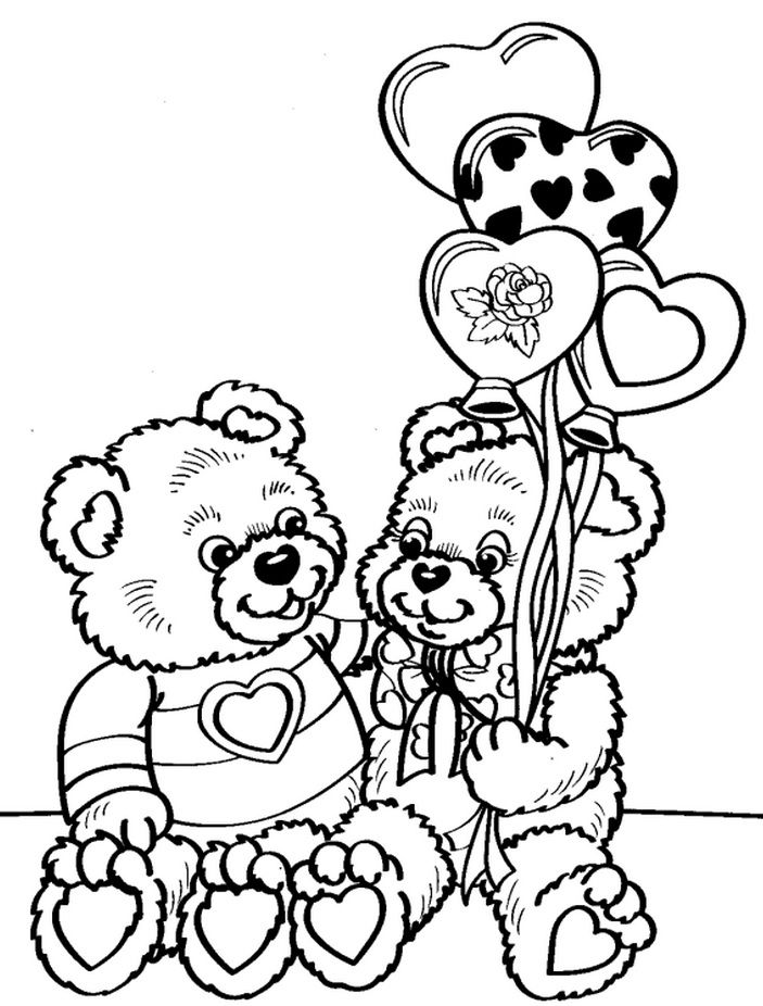 Teddy Bears Bear Coloring Pages Valentine Coloring Pages Valentines Day Coloring Page