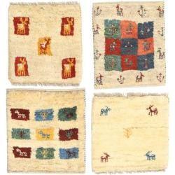 Gabbeh Persisch Paket aus 4 Teppich 40x40 Persischer, Quadratisch TeppichCarpetvista.de