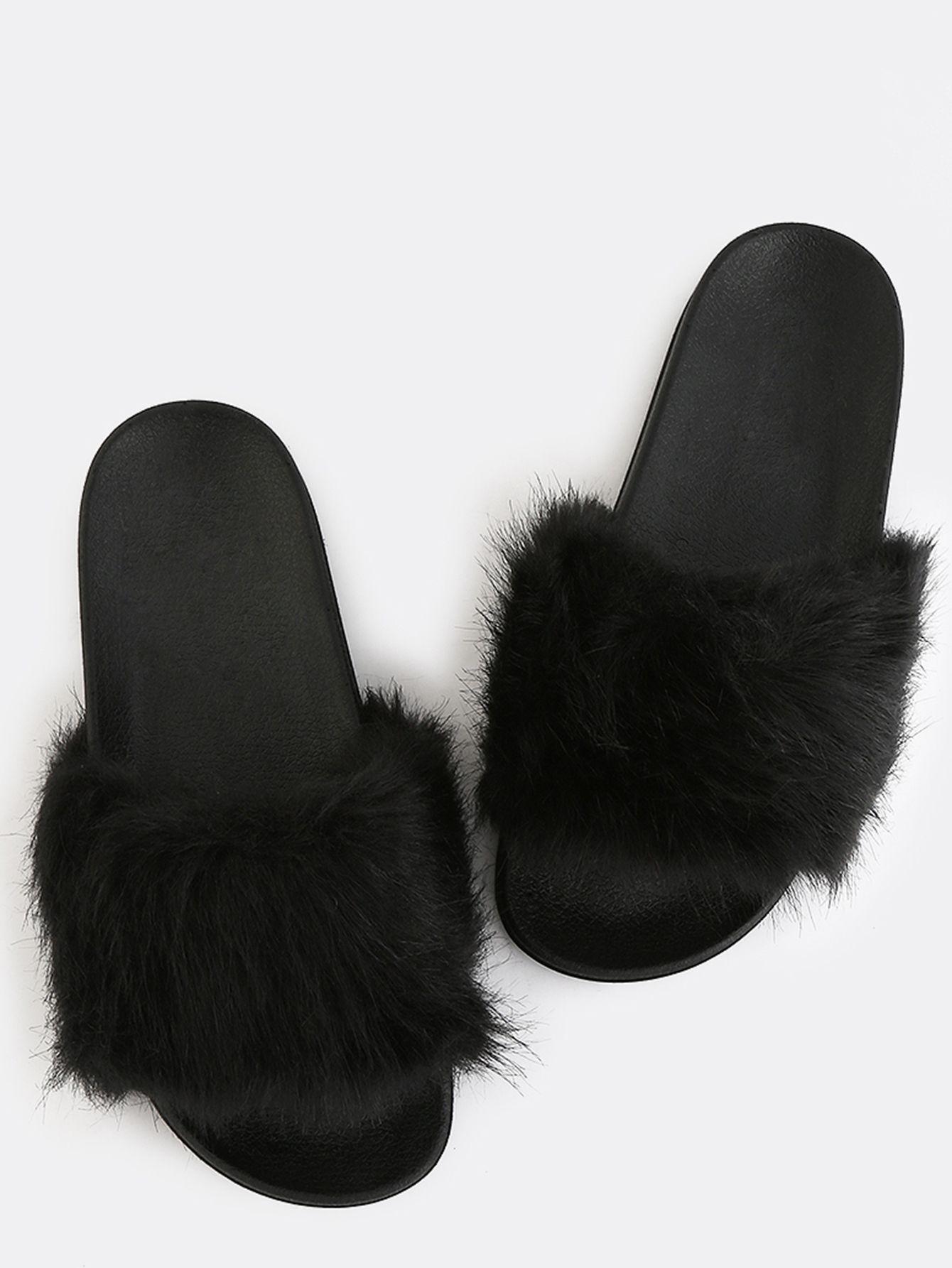 b2dbfac771 Shop Fluffy Faux Fur Sandals BLACK online. SheIn offers Fluffy Faux ...