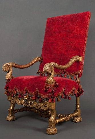 A LOUIS XIV ARMCHAIR France ca 1675 Carved and gilded walnut. Height 117 cm / 46 in Width 69 cm / 27 in Length 75 cm / 30 in ... & A LOUIS XIV ARMCHAIR France ca 1675 Carved and gilded walnut ...