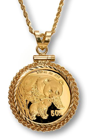 Chinese Panda Gold 1 10 Oz Necklace Is A Great Way To Show The Artistry And Beauty Of The 1 10 Troy Ounce Chinese Go Chinese Panda Unique Jewelry Bullion Coins