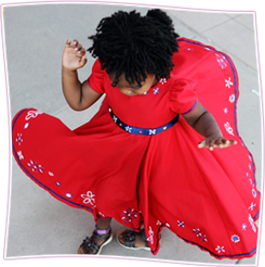Secret Garden Collection. Girls Dresses. Full Circle Flare Empire Dress with Puff Sleeves. Each piece is hand-painted.  $105.00