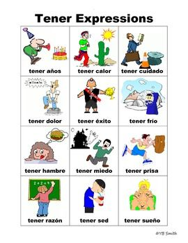 spanish tener expressions picture notes set spanish note and students. Black Bedroom Furniture Sets. Home Design Ideas