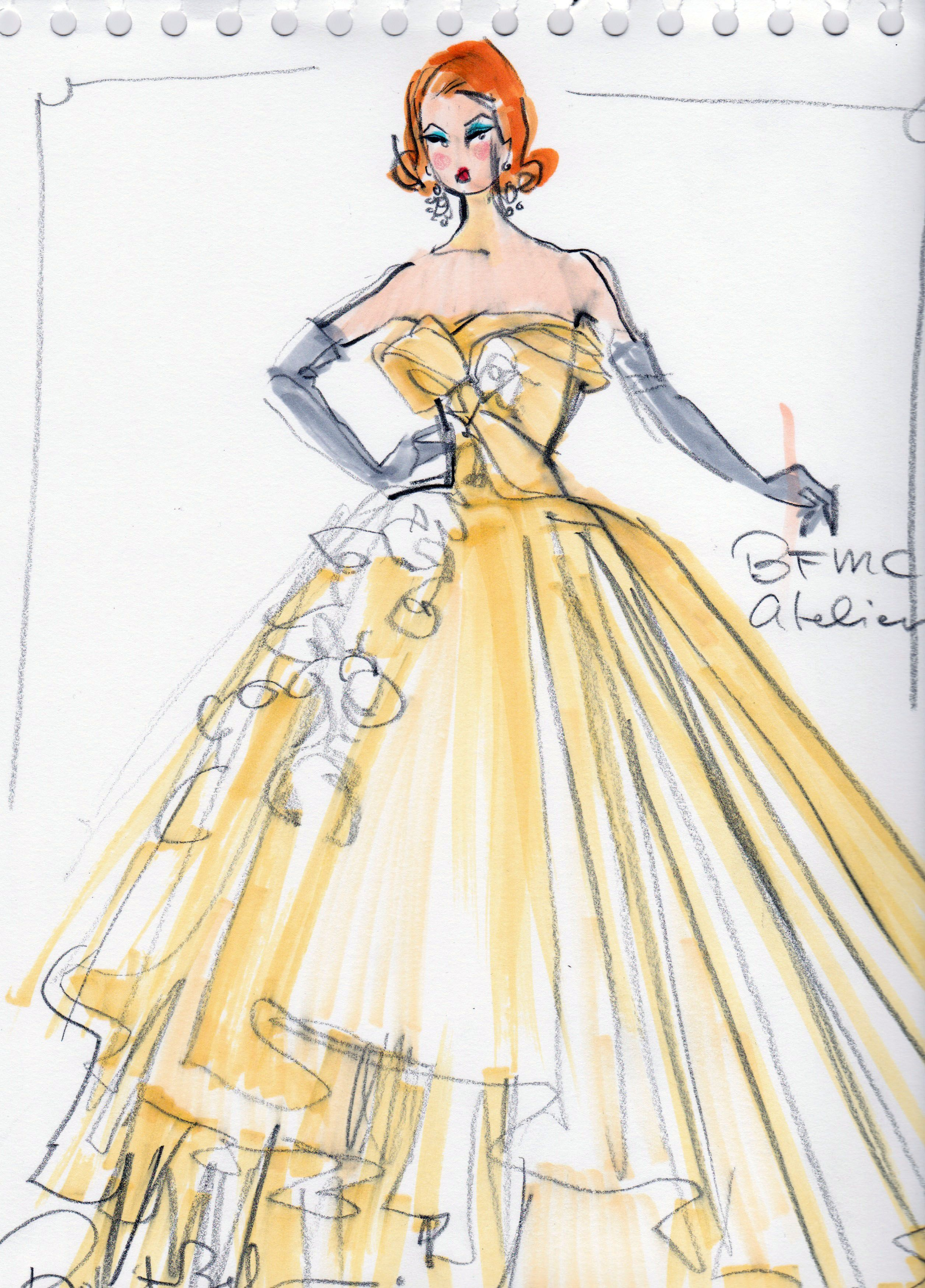 Rough sketch for gala gown by robert best one of my absolutely favorite barbies