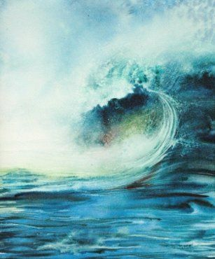 Beatrice Morel Vague 3 Peintures Vagues Mer Aquarelle Aquarelle