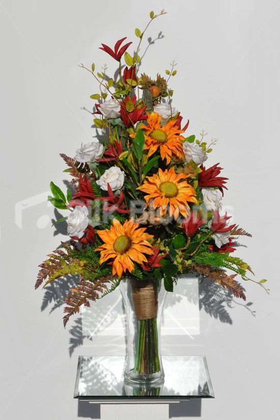 Artificial Orange Gerbera And Ivory Rose Floral Arrangement W