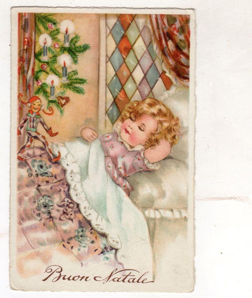 Cartoline Di Natale Anni 30.Bn0002 Cartolina Buon Natale Merry Christmas Bambino Che