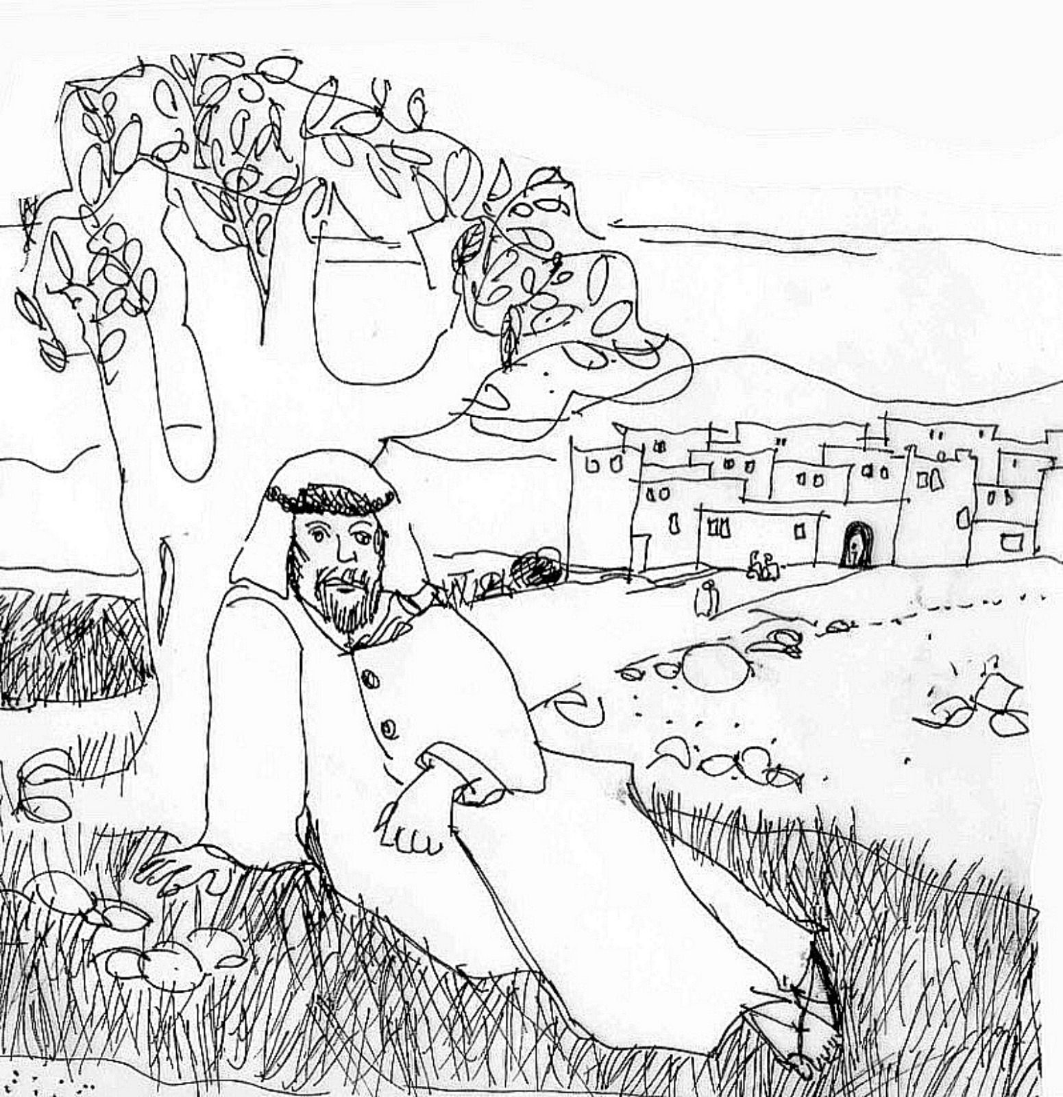 Jonah And The Vine Coloring Page Coloring Pages Sketches Male