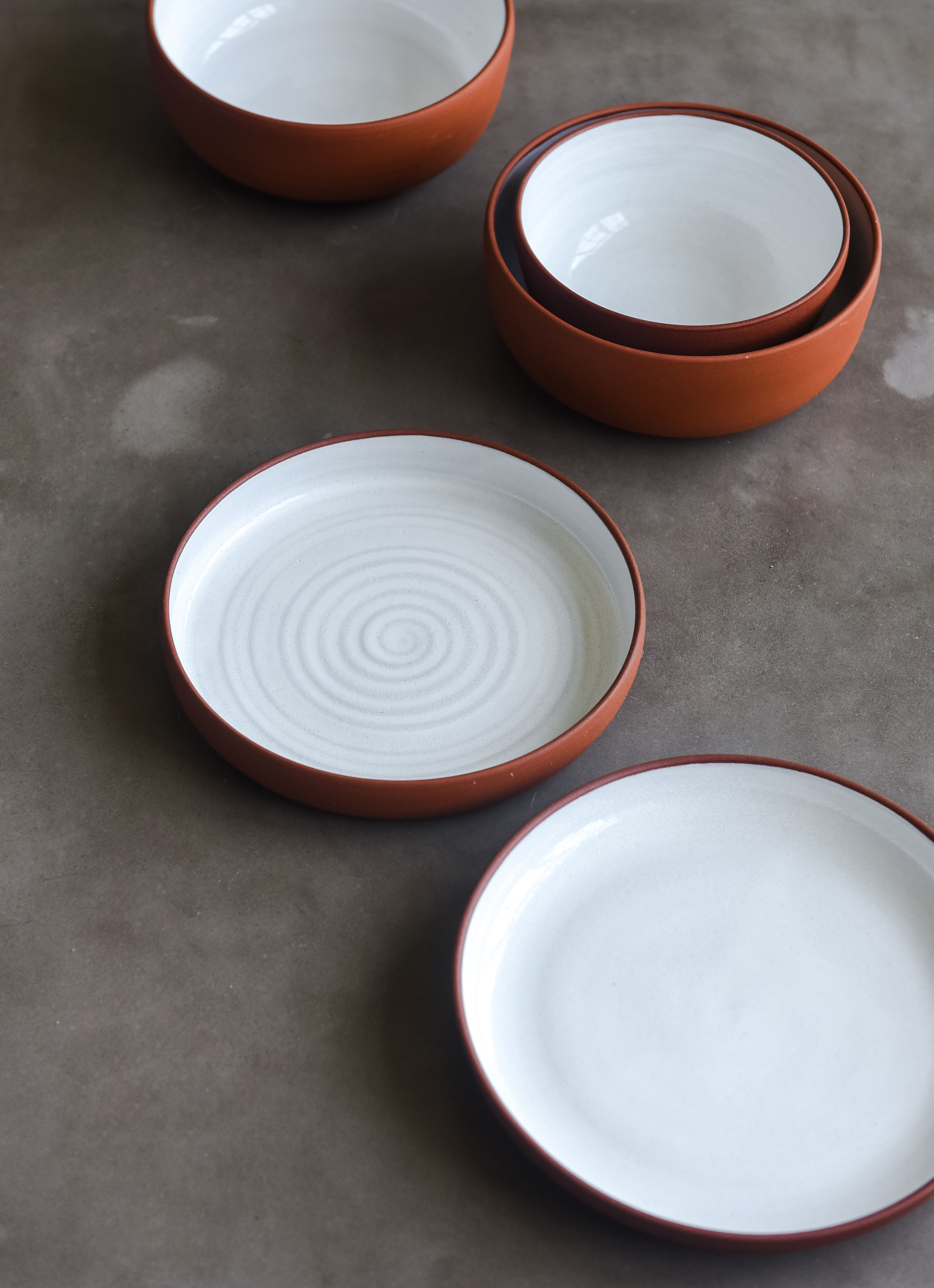 Terracotta Dinner Set Handmade Ceramic Dinnerware Terracotta Bowl And Plates Handmade Tableware Stoneware Dinnerware Rustic Dish Set Stoneware Dinnerware Handmade Tableware Handmade Dinnerware