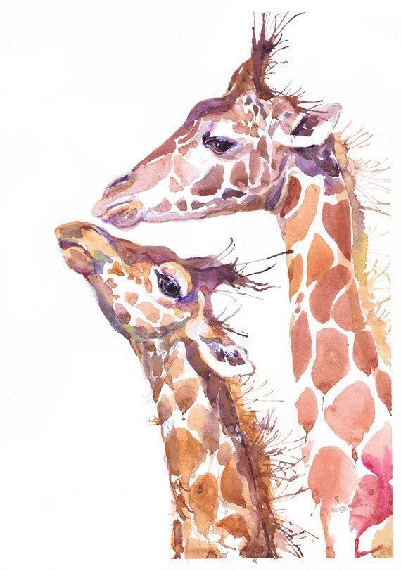 Giraffe Watercolor Painting Animal Art Safari Nursery Decor,Illustration print,, Wildlife art, living room decor