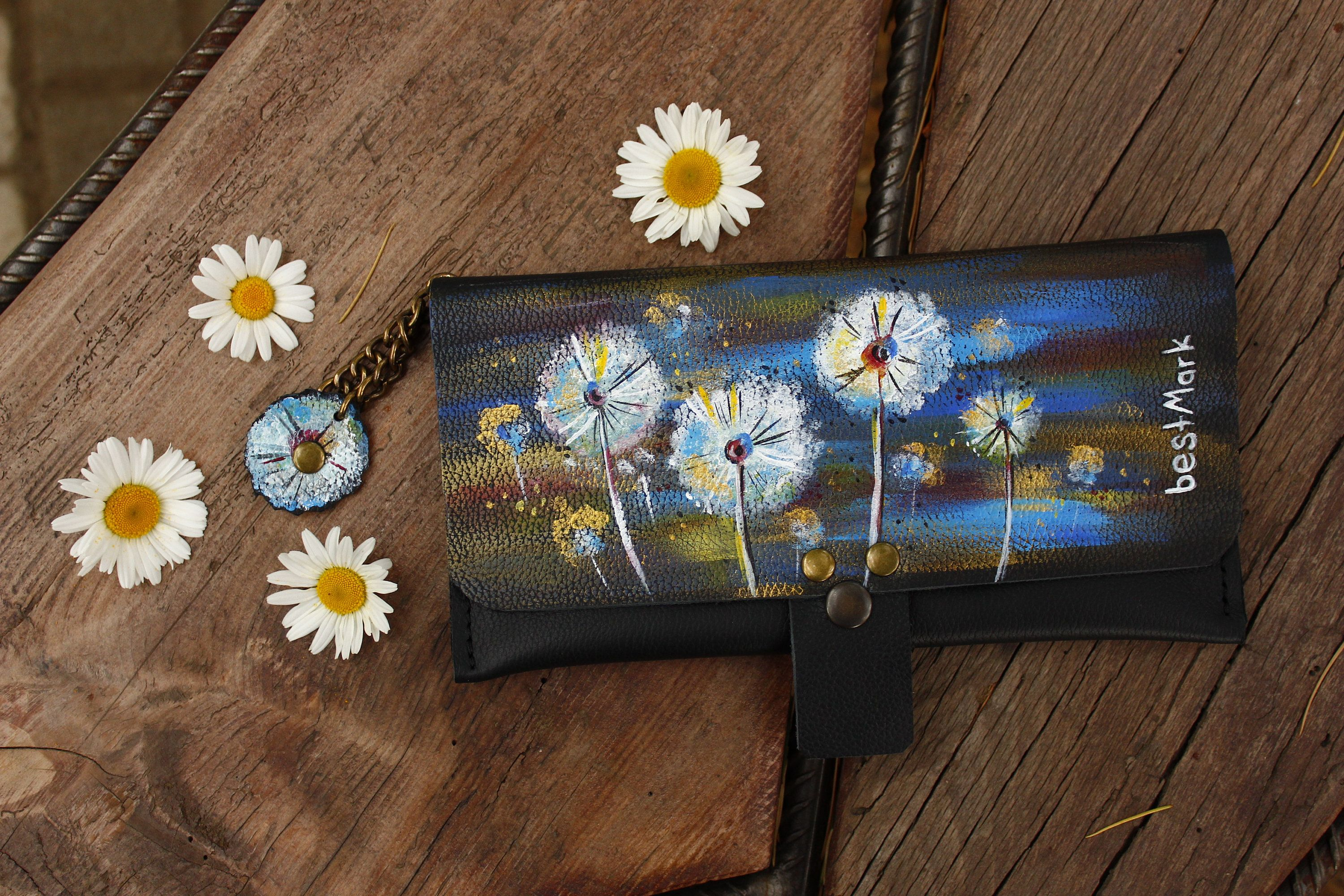 Hand Painted Personalized Leather Wallet For Women Original Gift Wallets Purses Des Personalized Leather Personalized Leather Wallet Leather Bags Handmade