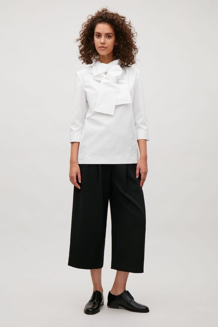 1c49309f7185d2 COS image 1 of Top with twisted tie detail in White | COS TOPS ...