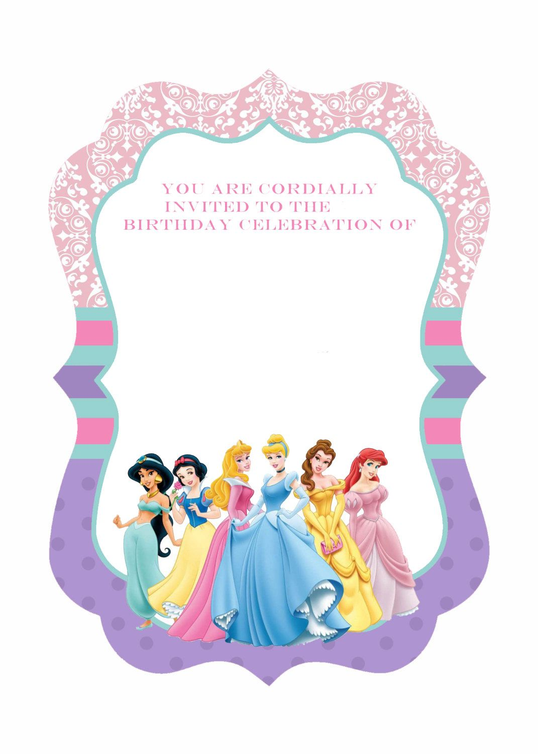 photo relating to Disney Princess Birthday Invitations Free Printable referred to as Awesome Free of charge Template Cost-free Printable Ornate Disney Princesses