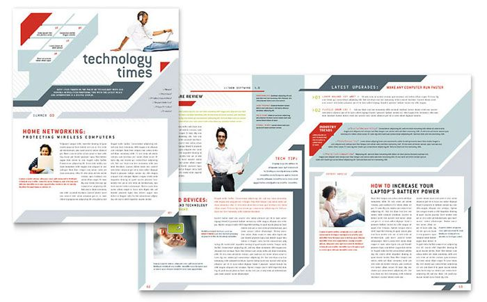 Computer Solutions Newsletter Design Template by StockLayouts - newsletter templates free microsoft word