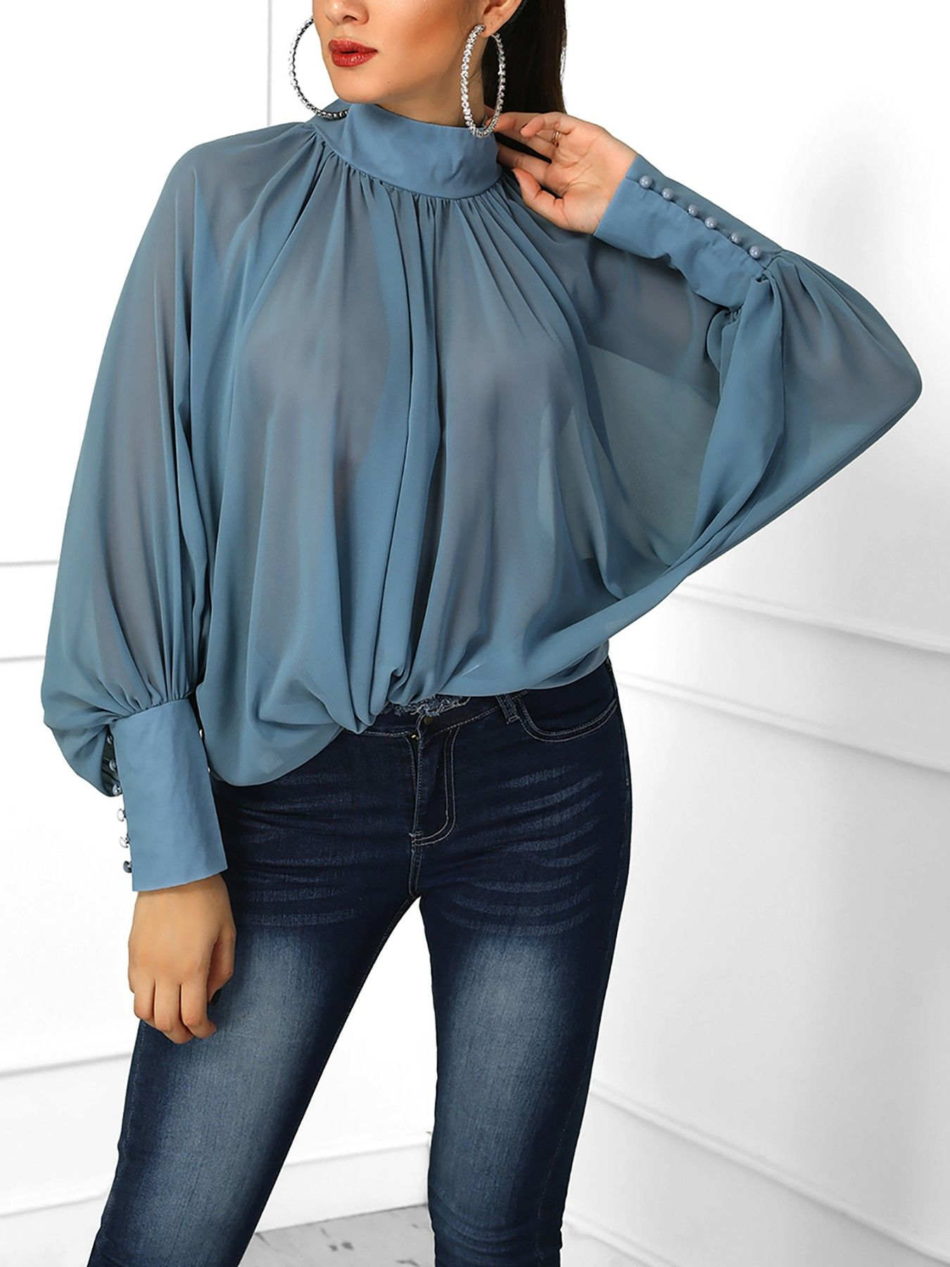 f62ae06a715532 Shop Blouses & Shirts Solid Lantern Sleeve Scrunched Blouse | Office ...