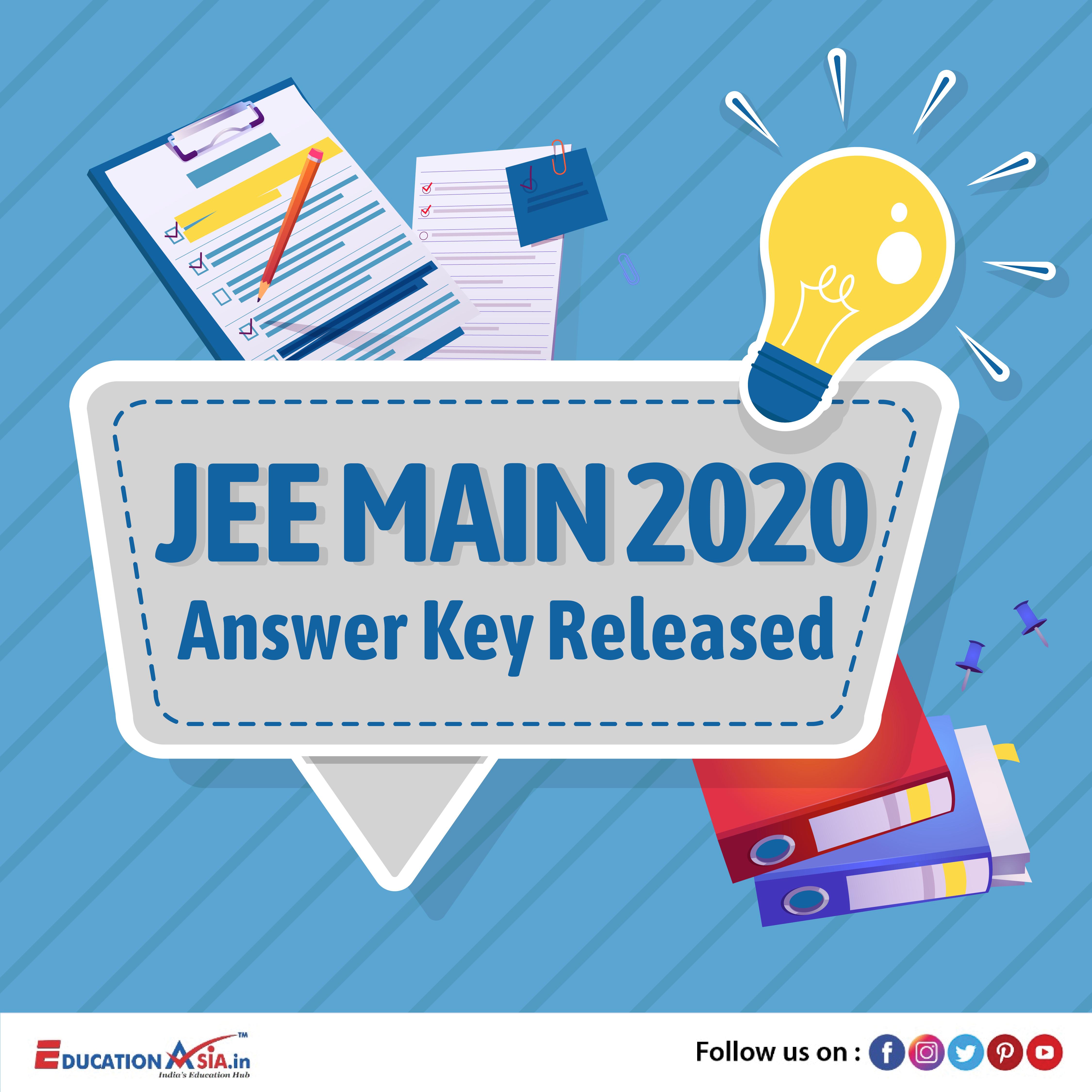 Jee Main Answer Key In 2020 Answer Keys Answers Education