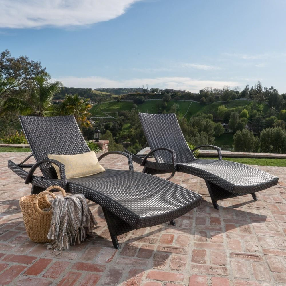 Noble House Salem Multi Brown 2 Piece Wicker Outdoor Chaise