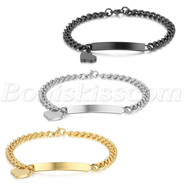 Womenus polished stainless steel love heart charm bracelet chain