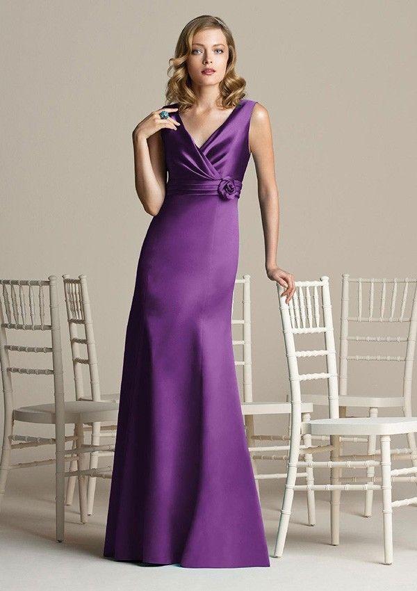 Column Sleeveless Natural Waist Flowers Satin Bridesmaid Dress ...