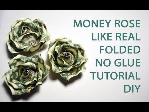Money rose like real origami flower folded no glue dollar tutorial money rose like real origami flower folded no glue dollar tutorial diy youtube mightylinksfo