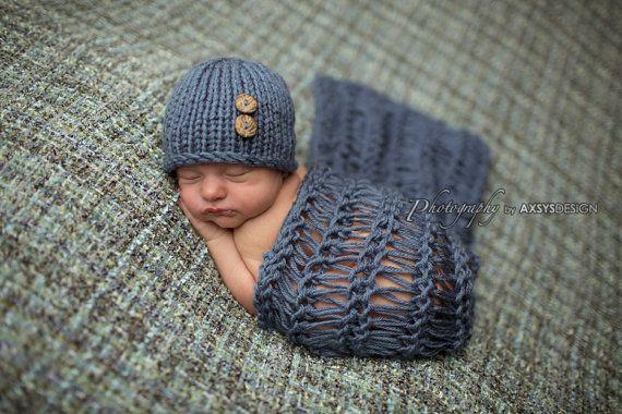Newborn Photo Prop Boy, Newborn Wrap Set, Knit Newborn Hat Boy, Newborn Hat Girl Newborn Wrap Photo Prop Newborn Props Boy Newborn Boy Props