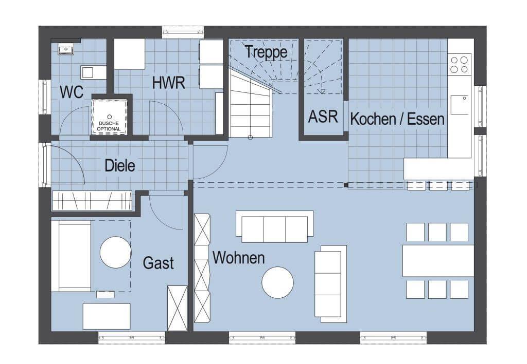 Top Star S 145 - Hanlo Haus - Wohnhaus Grundriss Erdgeschoss 90 qm ...