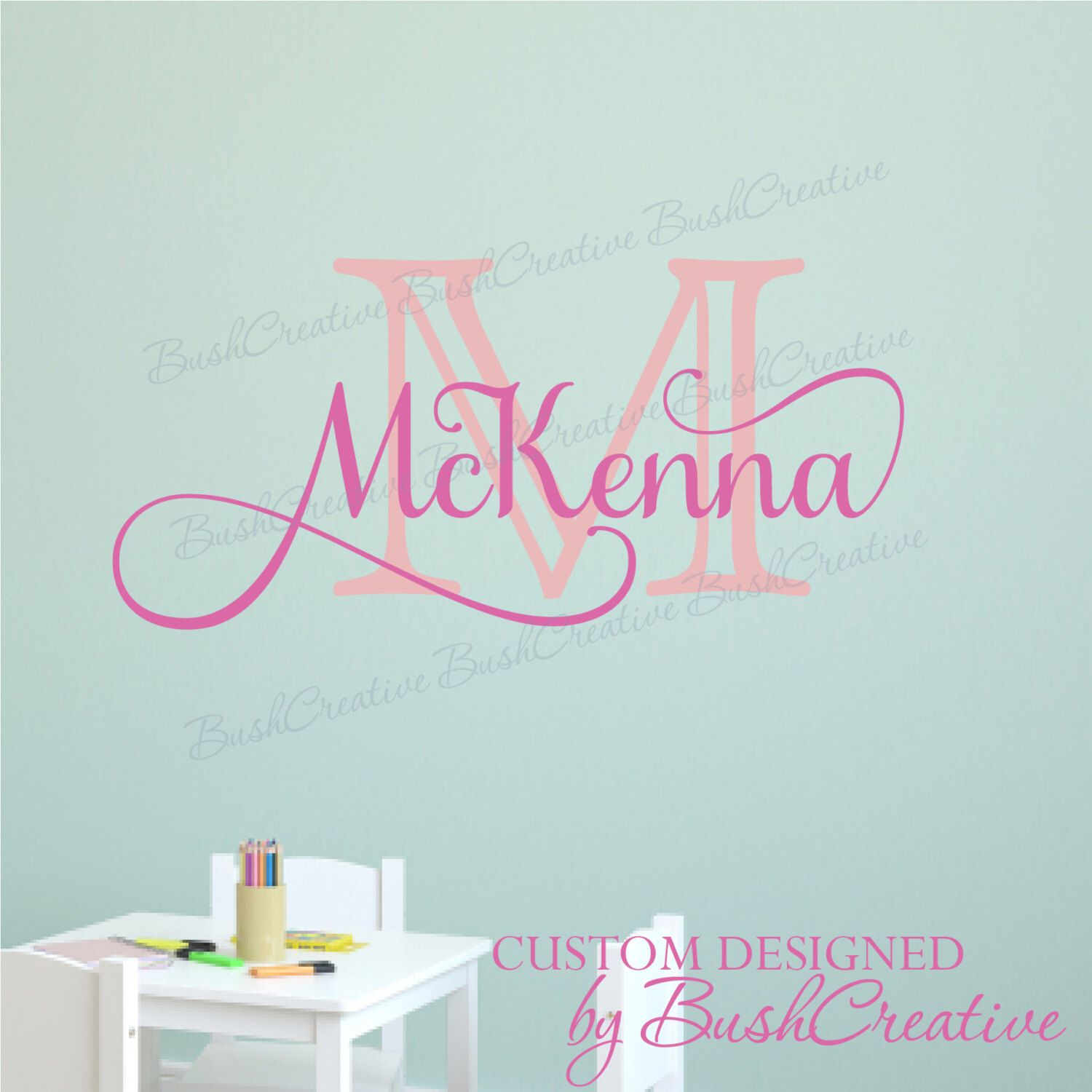 Wall Decal Name Decal Girl Name Decal Little Girl Name Wall Decal - Personalized custom vinyl wall decals for nurserypersonalized vinyl etsy