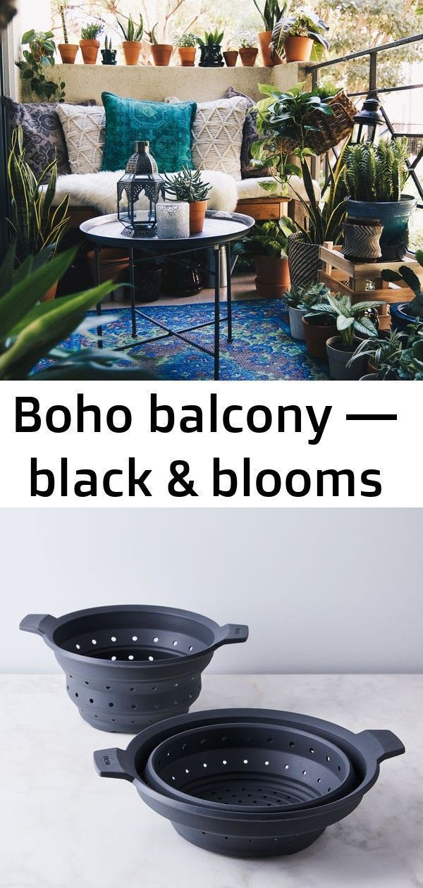 Boho Balkon - schwarz & blüht #smallapartmentchristmasdecor Boho Balkon - b ......
