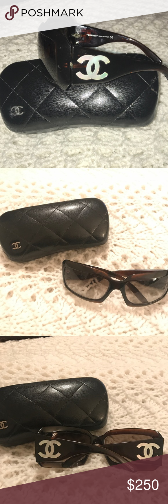 5994fd5886a Chanel Mother of Pearl CC Tortoise Shell Sunglasse 100% Authentic Excellent  Condition Gently Used CHANEL Women s Tortoise Shell Sunglasses with Mother  of ...