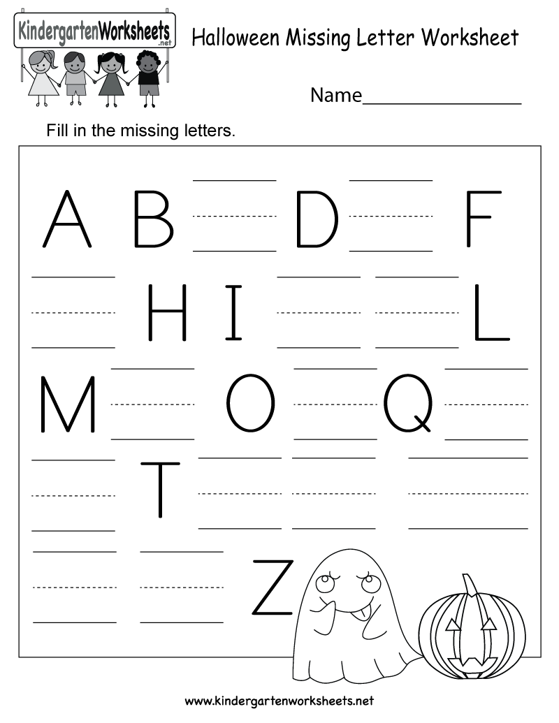 Kids have to complete the alphabet by filling in the missing ...