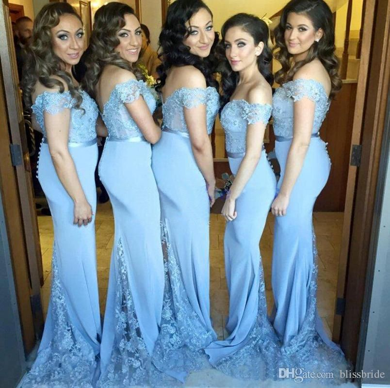 Blue Lace Wedding Bridesmaid Dresses 2016 Beading Off Shoulder ...