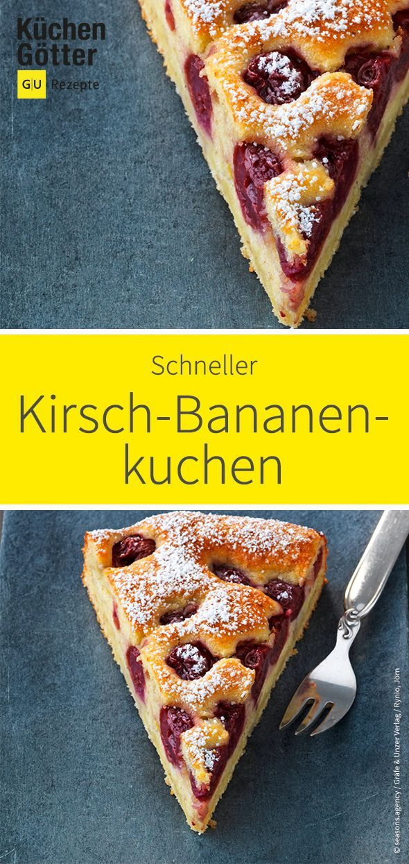 Schneller Kirsch-Bananenkuchen #bananadessertrecipes